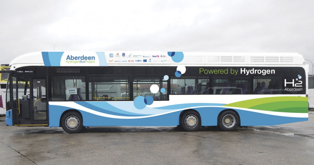 Ten of these Van Hool A330 hydrogen powered buses will begin operating in Aberdeen this year. This is a demonstration vehicle, the final appearance may differ