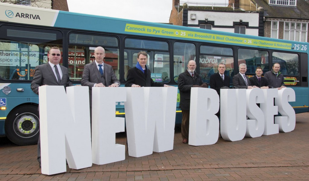 Arriva Midlands managers join council representatives and MP Aidan Burley to promote the 'new buses' message