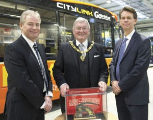 Go North East MD, Kevin Carr, Mayor of Gateshead, Cllr Jack Graham MBE, and Go Ahead's Group Chief Executive, David Brown celebrate the opening of the £8.5m depot