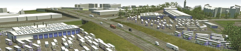 This architect's impression illustrates how the site is split by the motorway with the RREC on the left hand side