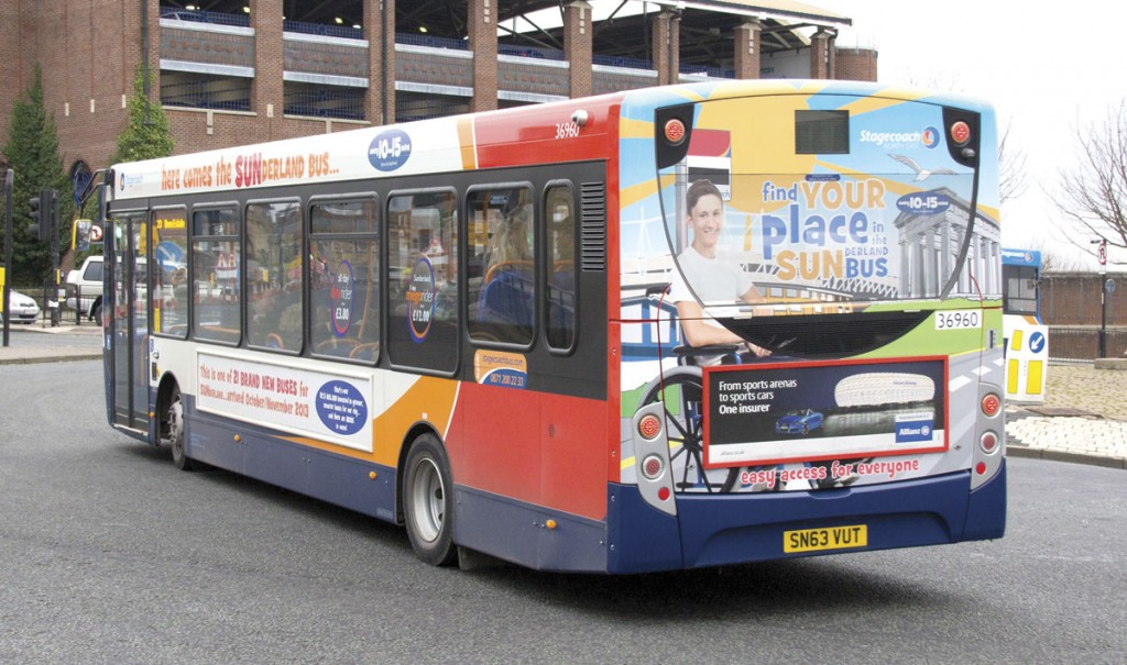 Recent investment by Stagecoach in Sunderland has included 21 Enviro 200s with prominent SUN branding