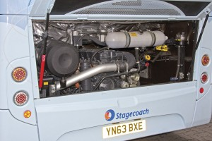 The five cylinder Scania gas engine is mounted vertically in line at the rear