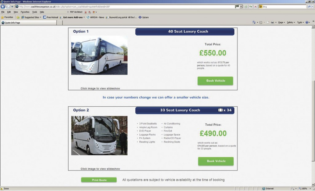Coach Hire Comparison now displays images of the vehicles that could be used for the potential customer's journey