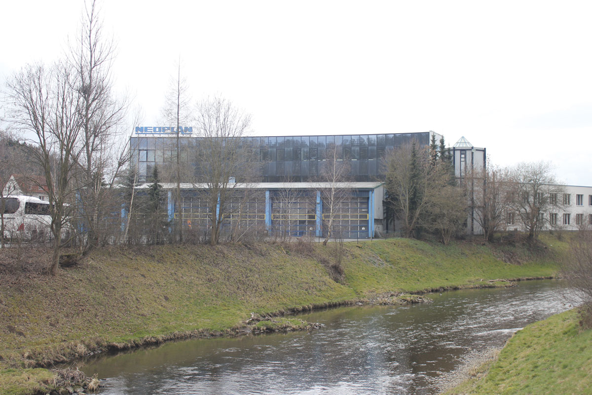 The plant from the opposite bank of the River Elster