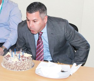 Regional Engineering Director, Phil Cummins, who was celebrating his birthday