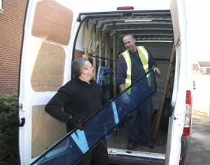 Steve taking delivery of a consignment of glass from PSV Glass