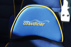 The e-leather trimmed Esteban seats have headrests featuring bespoke embroidery for the Cymru Coastliner route