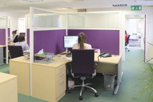The IT support team have individual workspaces screened to minimise noise transfer