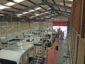 Inside the main production area, coachbuilt Iveco Daily's are in progress. The process uses flow line principles