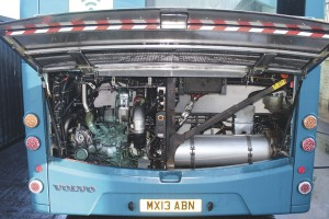 The engine bay of one of the Volvo B5LH Wrightbus hybrids
