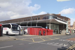 The modern Birmingham Coach Station which houses the National Express head office within the office suites above