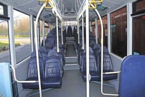 The interior of one of the Caetano bodied MAN CitySmart CNG buses showing the high level of provision