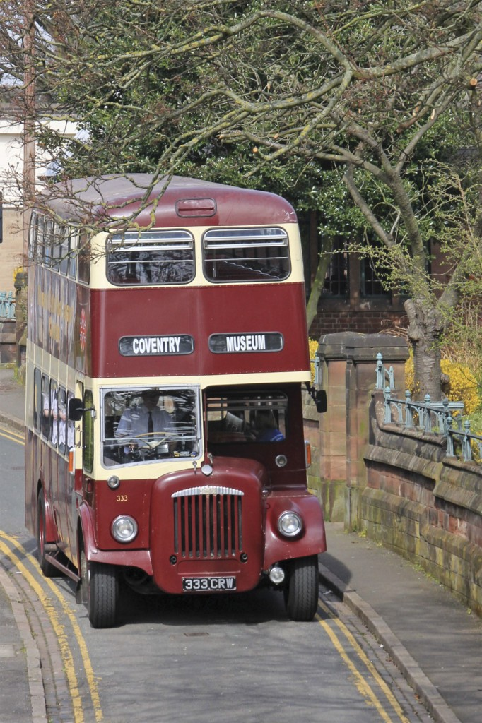 Coventry Transport Museum's Daimler CVG6, a typical Coventry bus of the 1960s, arrives back at the museum