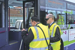 Giles experiences boarding a bus as a visually impaired person