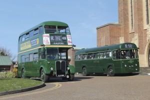 Two of the preserved former Green Line AEC buses, an RT Regent III and an RF Regal IV, used on the heritage service outside Guildford Cathedral, one of the sites where visitors could leave their cars while attending the event