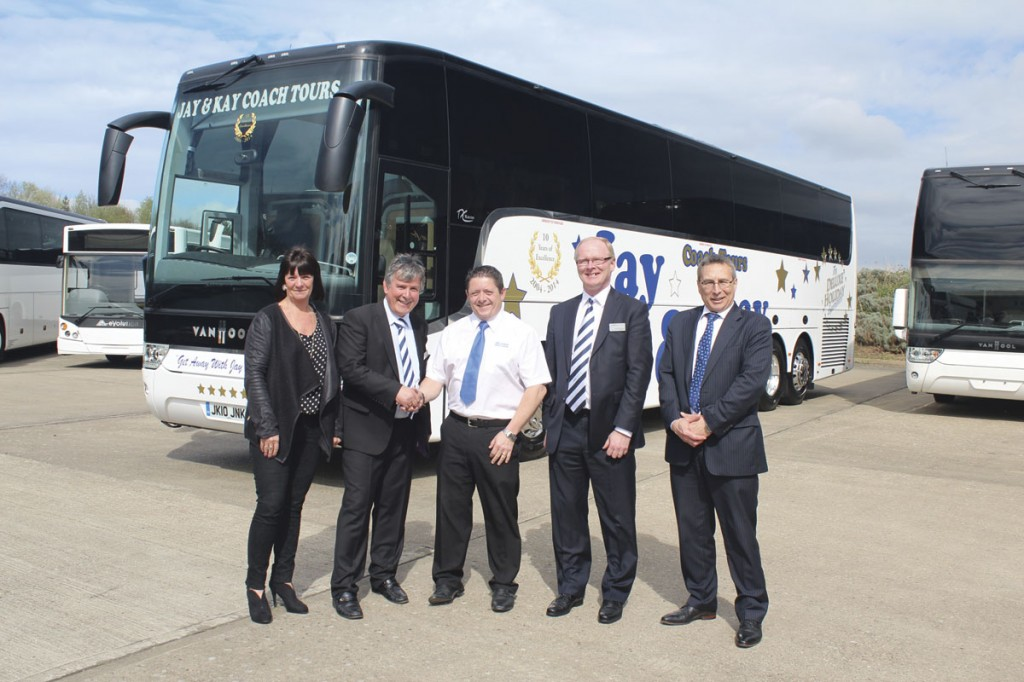 Handed over to Jay and Kay coach Tours at the event was this new DAF/Paccar powered TX16 Acron. From LtoR: Jackie Brazier, David Brown, Karl Brazier, Steve Hodkinson and Erik Olijslagers