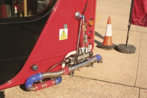 Part of Millbrook's Particulate Emissions Measurement System (PEMS) fitted to a bus