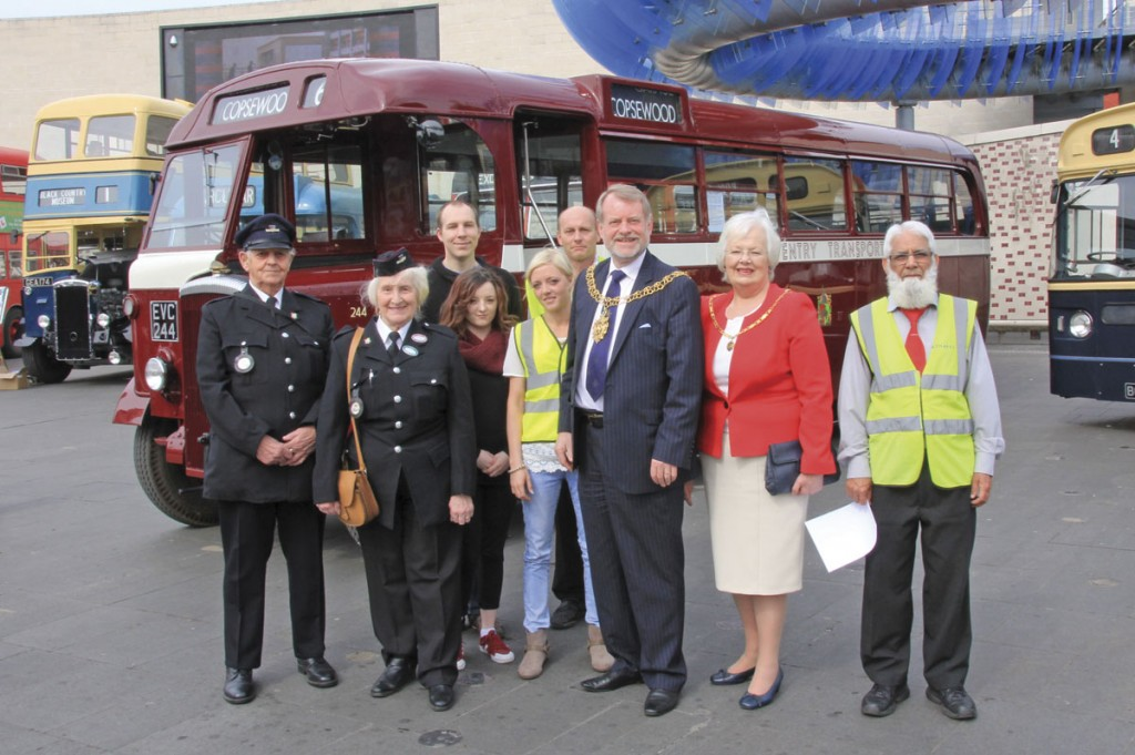 The organising team with the Lord Mayor of Coventry, Councillor Gary Crookes, the Lady Mayoress, retired Coventry Corporation Transport employees Jim and Maureen Bailey in full uniform and National Express driver, Abdul Majid Khan