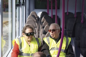 Transport Minister, Baroness Kramer in 'sim specs' discusses the needs and difficulties of visually impaired and blind bus passengers