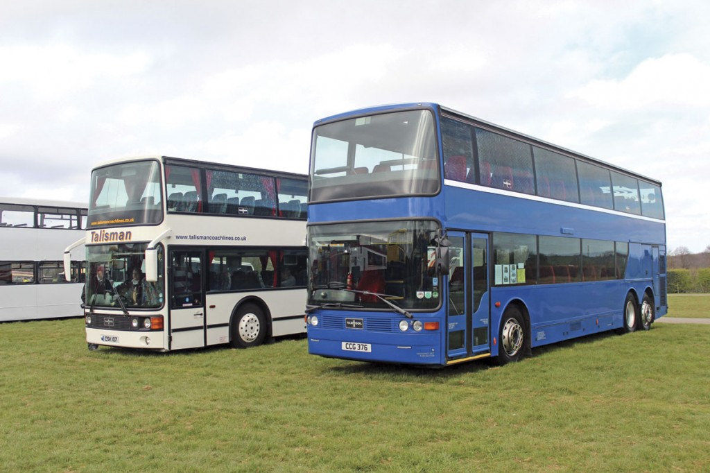Two Van Hool Astromegas with independent operators that originated with Southend Transport, whose X1 service was the subject of a talk by Richard Delahoy.  They were supplied by Talisman and Aspen Bussing