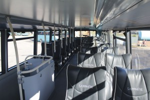 2+1 Esteban leather seating on the upper deck of the Sapphire Enviro400s