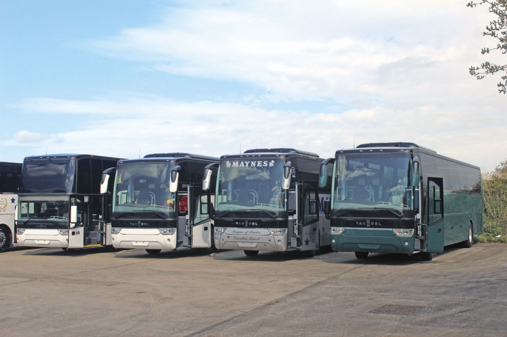 A variety of new unregistered Van Hool engined integrals were displayed