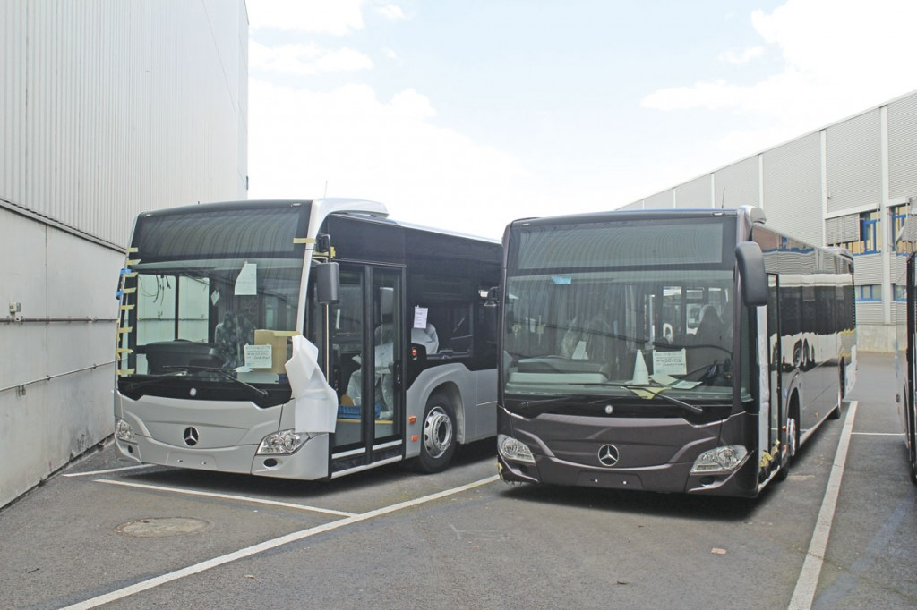 A customer Citaro 2 right hand drive alongside one of two new demonstrators for the UK