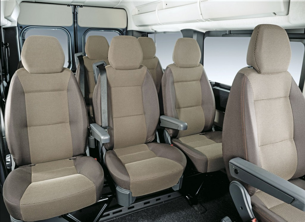 An interior picture of the seating configuration showing the Panorama upholstery
