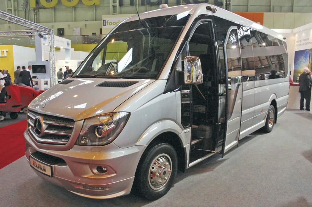 Easily the most luxurious minicoach at the show was this EVM X'Clusive2 Euro6 Sprinter 519 for Everydays Travel. It had a very highly specified interior