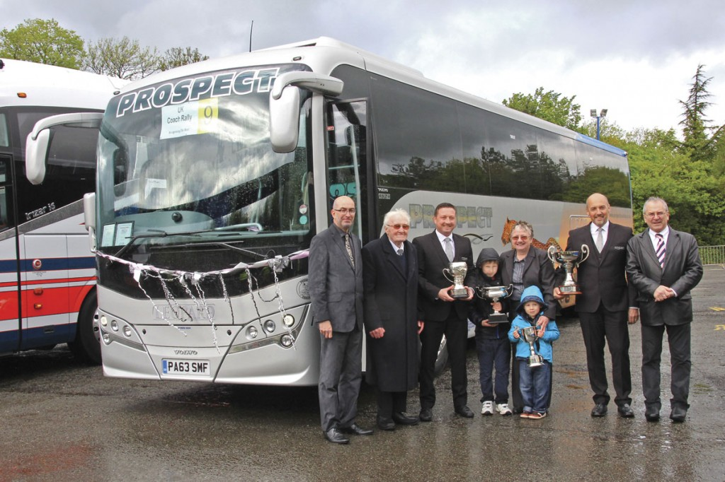 Four generations of the 'Prospect' family with the Plaxton Leopard Volvo B9R which took three awards and Coach Driver of the Year Steven Davies