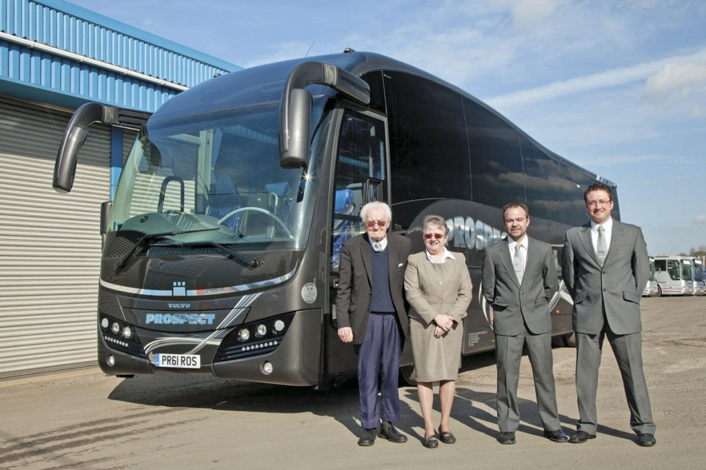 Geoff Watts, Ros Hadley, Martin Hadley and Nathan Hadley with the Plaxton Elite soon after its entry into service in 2012