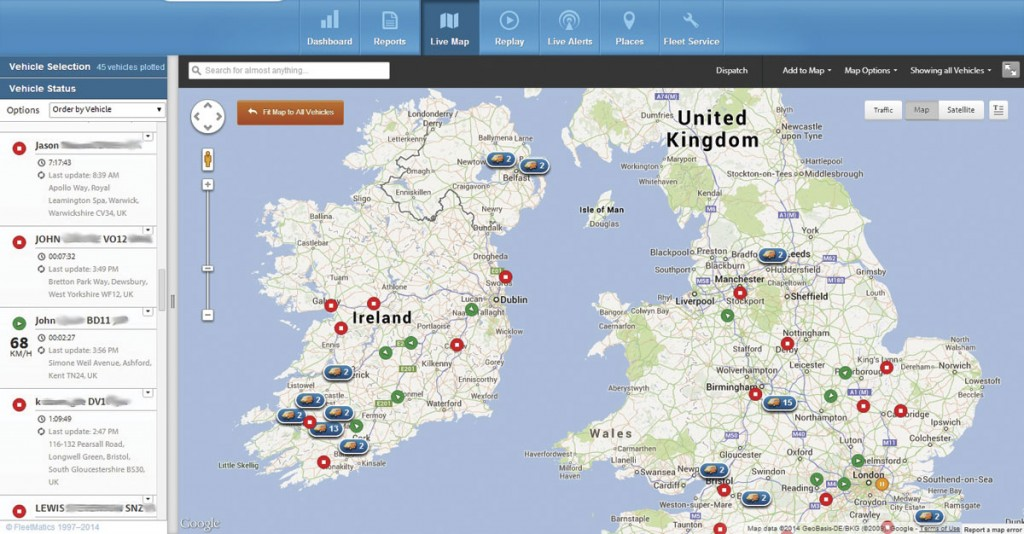 Reveal's live map feature tracking vehicles across the country