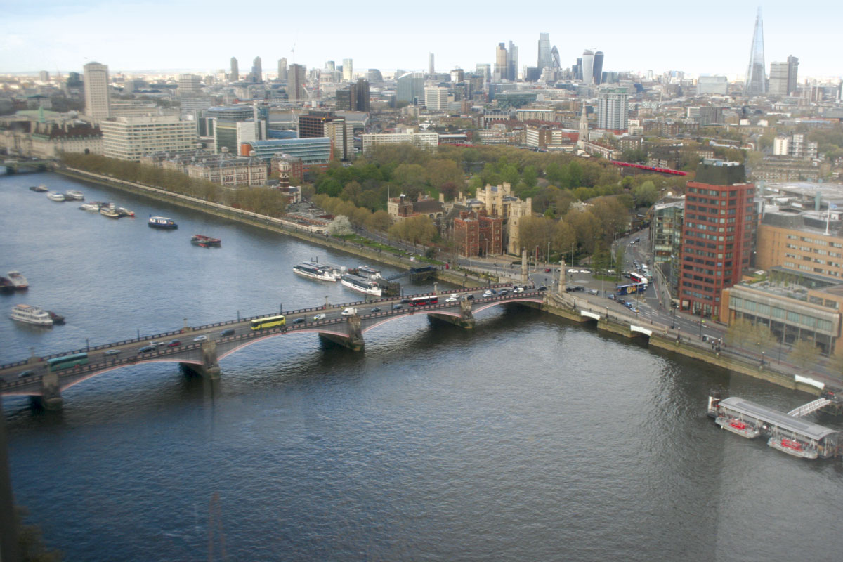 A stunning view from Millbank Tower. Note the Kings Ferry coach on the bridge