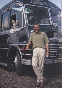 Roy McCarthy in front of a Plaxton bodied Commer Avenger in the all black colours of Fred Lomas, by whom he was employed for 15 years before setting up on his own