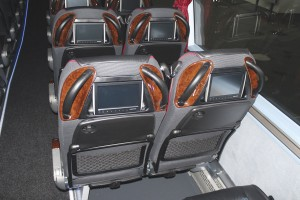 Autosound supplied the Funturo in-seat entertainment systems specified by Dave Parry in his latest coaches including the Neoplan Starliner seen here