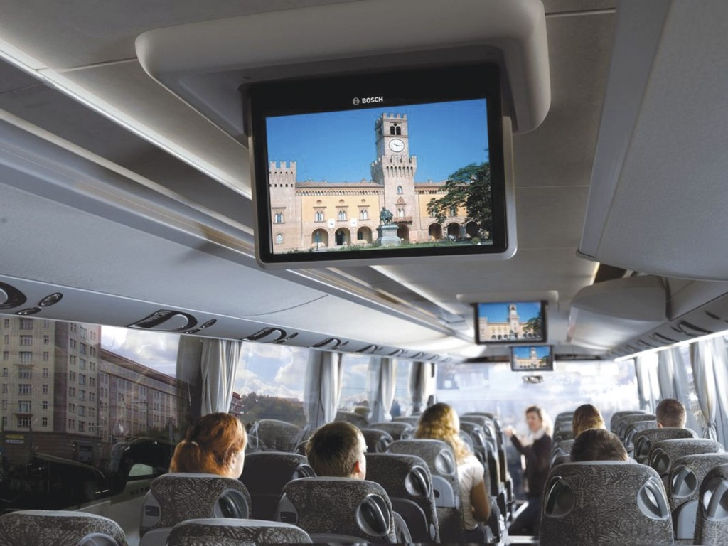 Bosch drop down monitors installed in a Setra coach. Autosound is the UK and Ireland distributor for Bosch