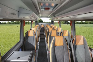 Intended for private hire and touring, the Travel 55 features seats derived from the full sized coach range. This model is among those not offered in the UK
