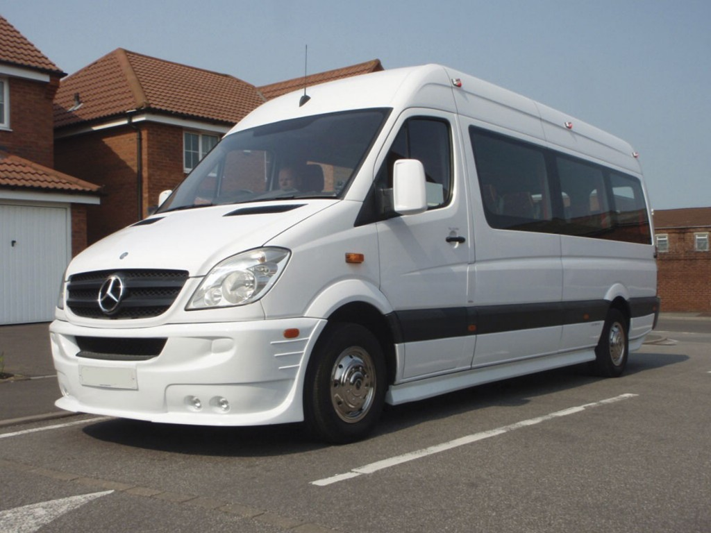Soon to be available for £23,995 is a brand new conversion of a 2009 Sprinter 311 with 16 three point belted Prime seats, similar to this coach