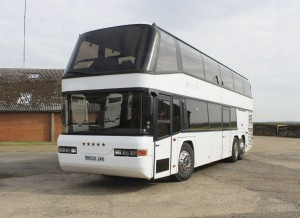 The current 'featured coach' is this stylish 2003 Neoplan Skyliner, 77 seat LEZ
