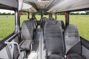 The interior of the left hand drive Mobility 45. The floor treatment of the right hand drive model is completely different with a higher completely flat floor
