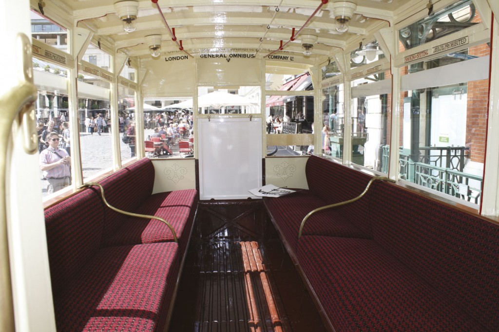 The interior of the lower deck saloon with the specially manufactured moquette from Holsworth Fabrics