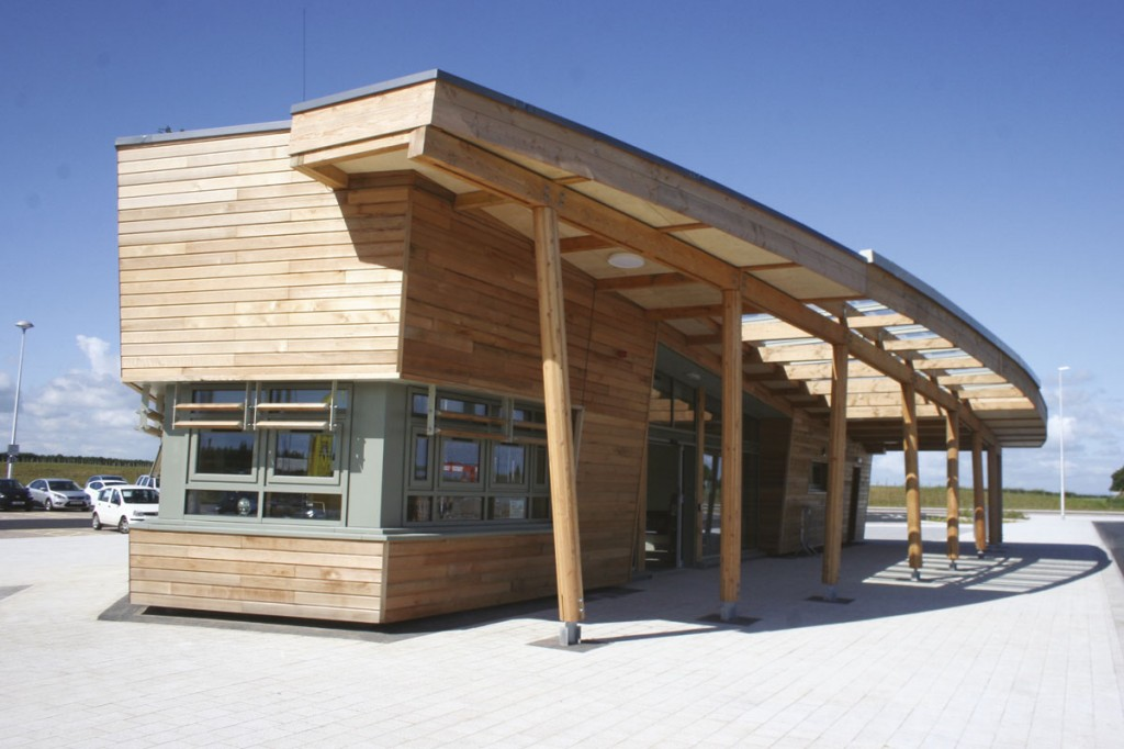 The new Park and Ride site at Poppleton Bar, complete with wood cladding and a turf roof.