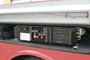 The electrical panel within the rearmost offside over-wheel locker