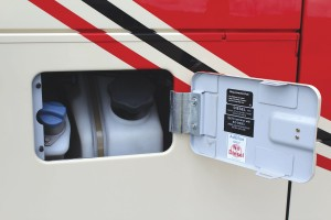 The fuel and AdBlue fillers are behind the same flap. The tanks have capacities of 490-litres and 61-litres respectively