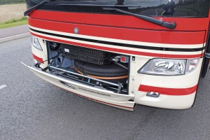 Releasing the front hinged panel provides access to the spare wheel and a number of components