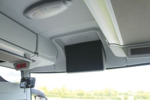 Powered monitors are fitted at the front and centre and there is a digital clock at the nearside front