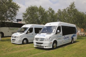 Two smart Mercedes-Benz Sprinters coverted by Swansea Coachworks were displayed by Coastal Mini Coaches