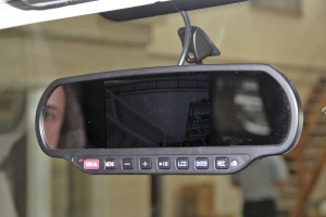 Popular with minibus and CT operators who were getting dash top units stolen because thieves thought they were satnav devices are these mirror monitor units with twin camera input. It has a forward facing camera and two other AV/camera inputs.