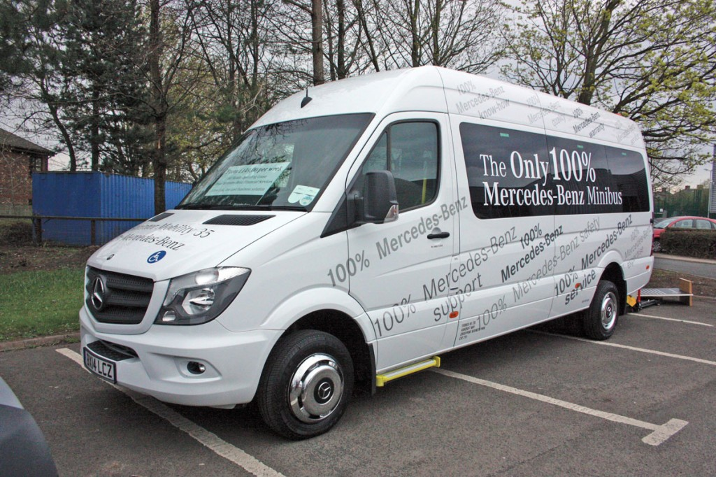 16 seat EvoBus Mobility Sprinter. It was fitted with a PLS rear cassette type wheelchair lift