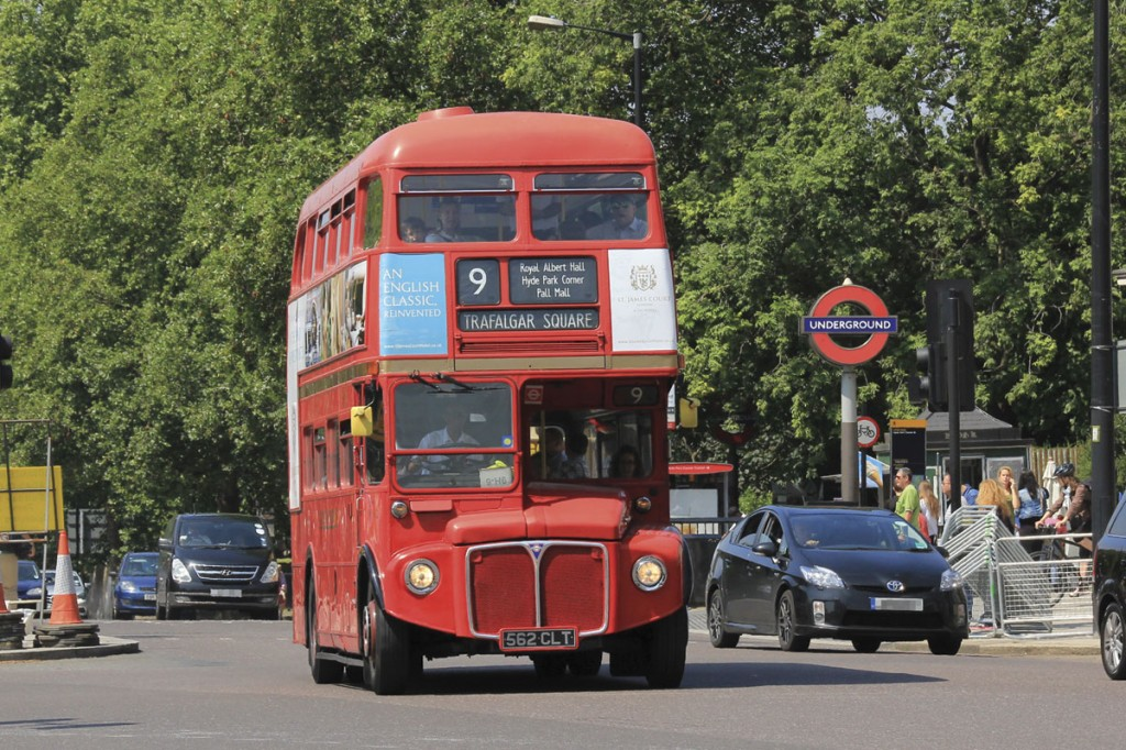 An RM accelerates away from Hyde Park Corner tube station on Heritage Routemaster route 9 which will cease on 25 July